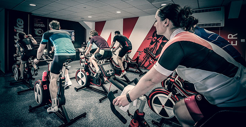 Indoor cycling class.