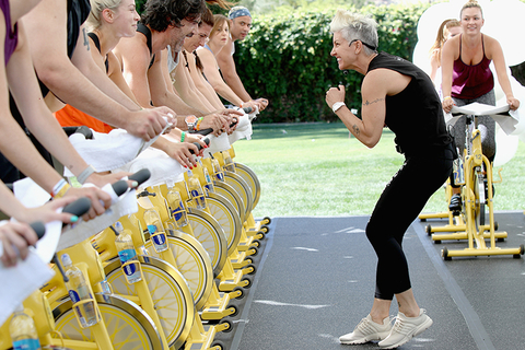 Stacey Griffith leading a SoulCycle class