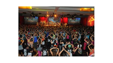 As part of fundraising efforts for ALS research Zumba held a Zumbathon in conjunction with the IHRSA show and the Bash for Augies Quest last March in Los Angeles