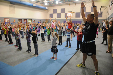 Soldiers from Fort Carson CO lead elementary school students through a modified version of the US Army39s physical readiness training as part of the school39s new Fueling the Future program Photo courtesy of the US Army