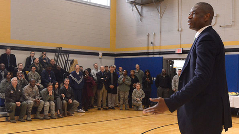 Dikembe Mutombo speaks to members of Team Dobbins on Nov 18 at the grand opening of the renovated fitness center at Dobbins Air Reserve Base in Marietta GA US Air Force photo by Don Peek