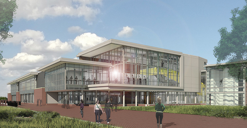 Expansion of Burdick Hall will expand recreational and fitness opportunities at Towson University Rendering courtesy Towson University
