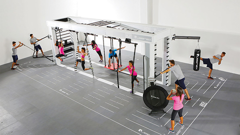 Amer Sports President and CEO Heikki Takala referenced the Queenax functional training systems pictured and the Spinning licensing deal as the building blocks for 2016 in a conference call with analysts Photo courtesy Precor