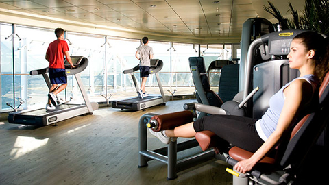 Guests exercise in the MSC Fantasia gym Photo courtesy MSC Cruises