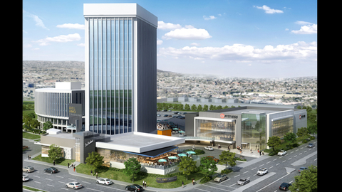 The 24 Hour Fitness coming to Del Amo Crossing in Torrance California is shown at lower right of this rendering Courtesy The Muller Co