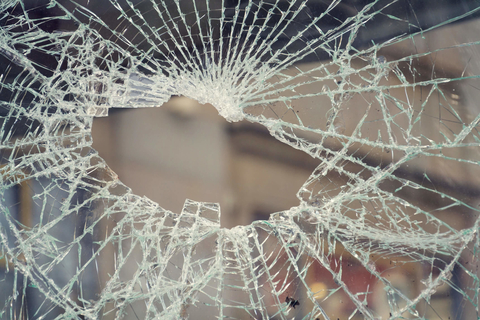 Hole in broken window