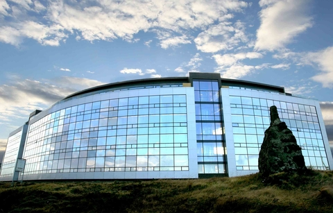 Large glass office building