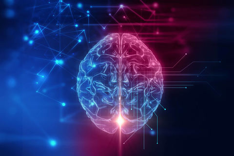 Blue purple pink 3d rendering of brain