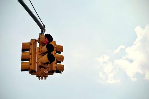 red traffic stop light