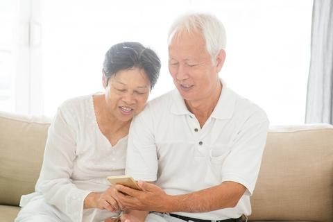 Seniors with phones