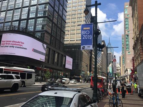 BIO 2019 banner in Philadelphia
