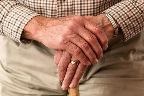 Old hands on walking stick