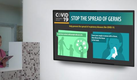 Outcome Health image/waiting room COVID-19 campaign