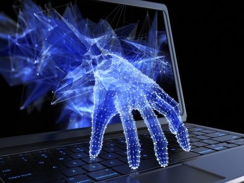 Digital arm reaching from inside laptop