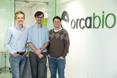 Orca Bio co-founders: Jeroen Bekaert, Ph.D., Ivan Dimov, Ph.D., and Nate Fernhoff, Ph.D.
