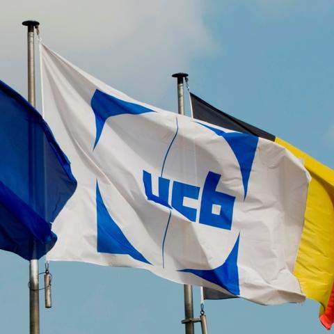 UCB logo on flag