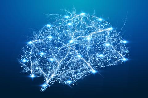 Digital X-ray brain on blue background neurons