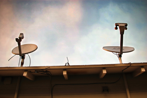 satellite dishes on a roof