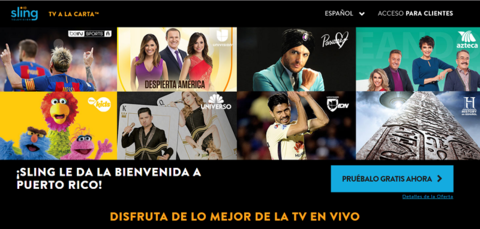 Screenshot of Sling TV Puerto Rico