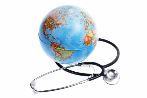 Stethoscope and globe