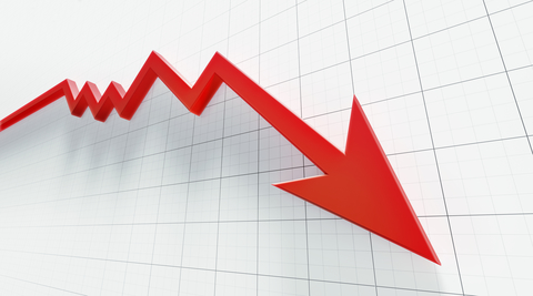 Downward trend arrow illustration