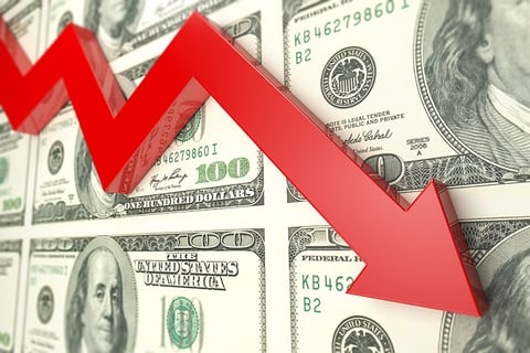 down arrow / decline / recession