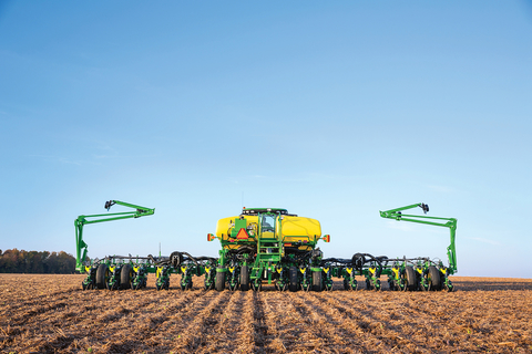 John Deere tractor and row planter