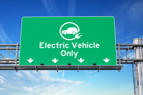 Electric vehicle only highway sign