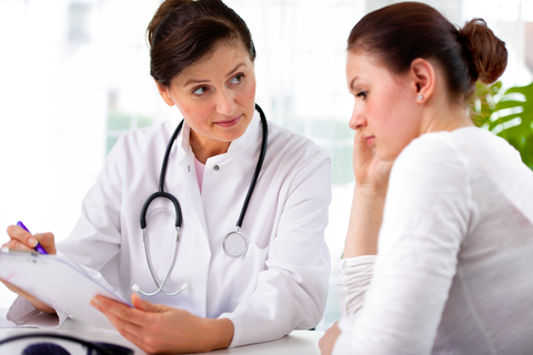 Unhappy female patient and doctor