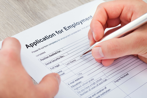 Filling out job application