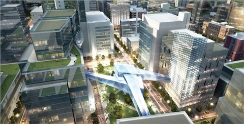 An illustration showing plans for the Destination Medical Center