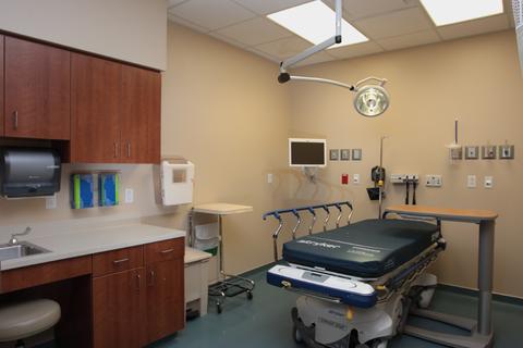 empty ER room at a hospital