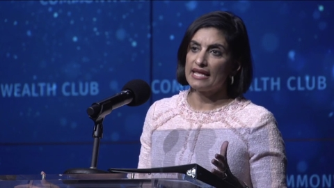 CMS Administrator Seema Verma speaking at a podium at the Commonwealth Fund on July 25, 2018