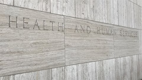 """Marble exterior of the Hubert H. Humphrey Building in Washington, D.C. Text on building reads """"Department of Health and Human Services."""""""