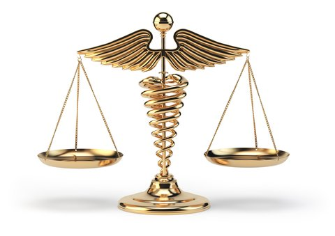 Medical caduceus symbol (staff of Hermes) holding up legal scales