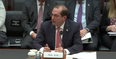 Alex Azar testifying