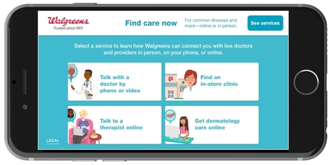 photo of Walgreens' Find Care Now mobile app