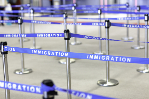 An immigration board line