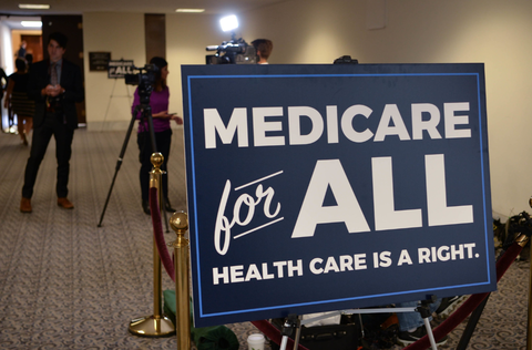 "A political sign reading ""Medicare for All: Healthcare is a right"""