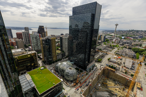 aerial photo of Amazon's headquarters