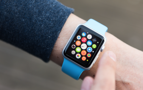 A wrist with an Apple Watch