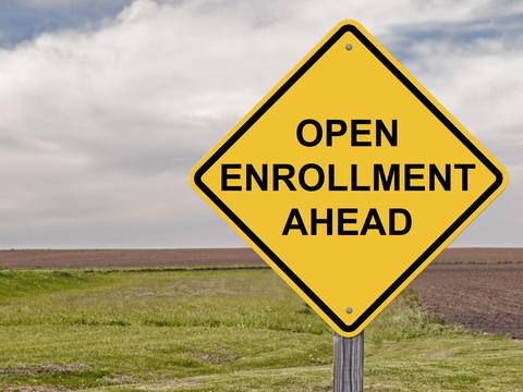 Open enrollment ahead sign