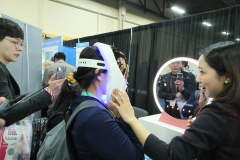 woman wearing white virtual reality device
