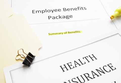 Documents summarizing an employee's health benefits
