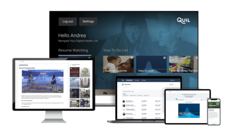 Quil Health COVID-19 Preparedness Tool on smartphones, laptops, devices and TV screens