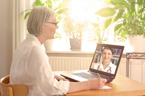 Older patient using telehealth