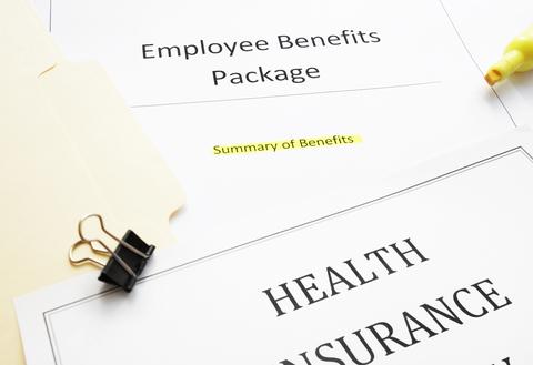 Documents summarizing an employee's health benefits
