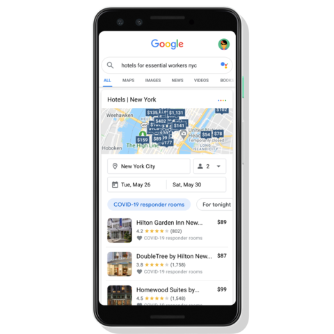 a screen shot from a smartphone showing hotel search results