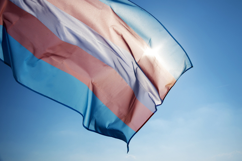 A transgender pride flag waiving in the sunlight