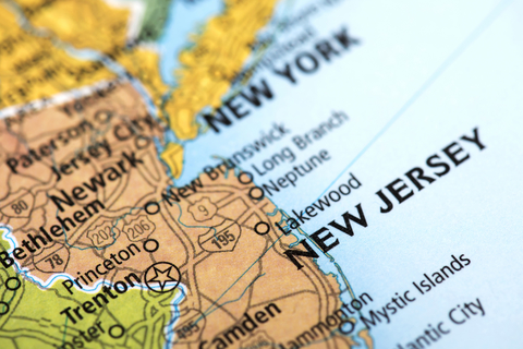 A map of the state of New Jersey